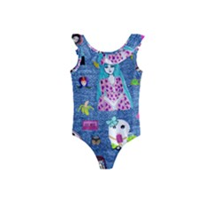 Blue Denim And Drawings Kids  Frill Swimsuit