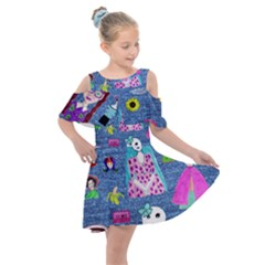 Blue Denim And Drawings Kids  Shoulder Cutout Chiffon Dress