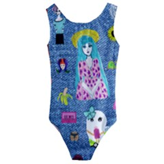 Blue Denim And Drawings Kids  Cut-Out Back One Piece Swimsuit