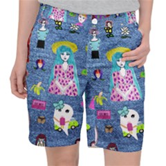 Blue Denim And Drawings Pocket Shorts