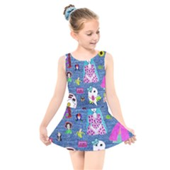 Blue Denim And Drawings Kids  Skater Dress Swimsuit