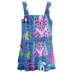 Blue Denim And Drawings Kids  Layered Skirt Swimsuit