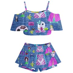 Blue Denim And Drawings Kids  Off Shoulder Skirt Bikini