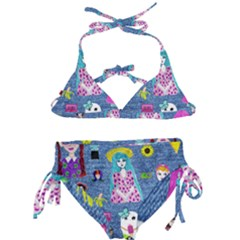 Blue Denim And Drawings Kids  Classic Bikini Set