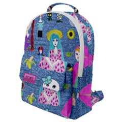 Blue Denim And Drawings Flap Pocket Backpack (Small)