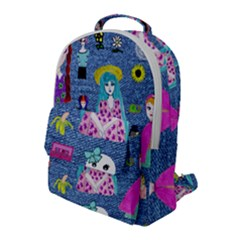 Blue Denim And Drawings Flap Pocket Backpack (Large)