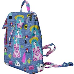 Blue Denim And Drawings Buckle Everyday Backpack