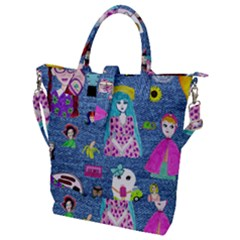 Blue Denim And Drawings Buckle Top Tote Bag