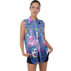 Blue Denim And Drawings Sleeveless Chiffon Button Shirt