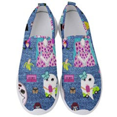 Blue Denim And Drawings Men s Slip On Sneakers