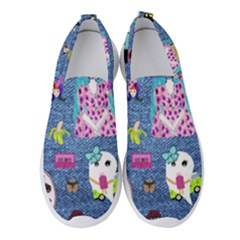 Blue Denim And Drawings Women s Slip On Sneakers