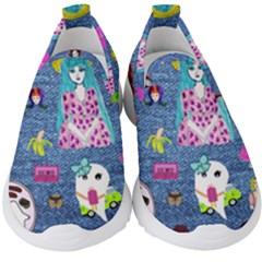 Blue Denim And Drawings Kids  Slip On Sneakers