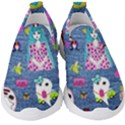 Blue Denim And Drawings Kids  Slip On Sneakers View1