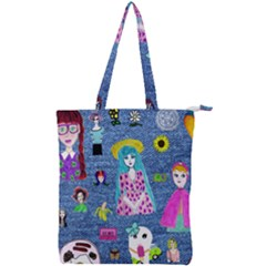 Blue Denim And Drawings Double Zip Up Tote Bag