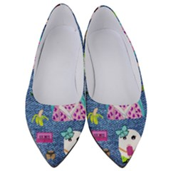 Blue Denim And Drawings Women s Low Heels
