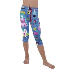 Blue Denim And Drawings Kids  Lightweight Velour Capri Leggings