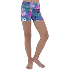 Blue Denim And Drawings Kids  Lightweight Velour Yoga Shorts