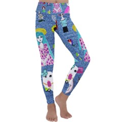 Blue Denim And Drawings Kids  Lightweight Velour Classic Yoga Leggings