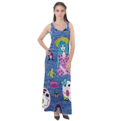 Blue Denim And Drawings Sleeveless Velour Maxi Dress