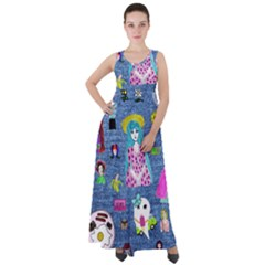 Blue Denim And Drawings Empire Waist Velour Maxi Dress