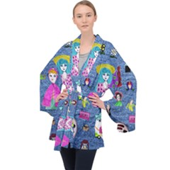 Blue Denim And Drawings Long Sleeve Velvet Kimono