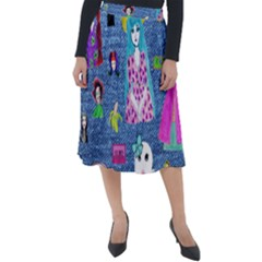Blue Denim And Drawings Classic Velour Midi Skirt