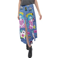 Blue Denim And Drawings Velour Split Maxi Skirt