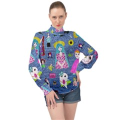 Blue Denim And Drawings High Neck Long Sleeve Chiffon Top