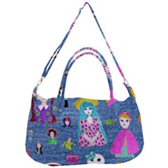 Blue Denim And Drawings Removal Strap Handbag