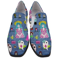 Blue Denim And Drawings Women Slip On Heel Loafers