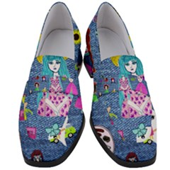 Blue Denim And Drawings Women s Chunky Heel Loafers