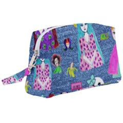Blue Denim And Drawings Wristlet Pouch Bag (Large)