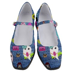 Blue Denim And Drawings Women s Mary Jane Shoes