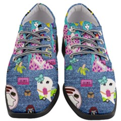 Blue Denim And Drawings Women Heeled Oxford Shoes
