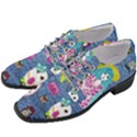 Blue Denim And Drawings Women Heeled Oxford Shoes View2