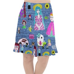Blue Denim And Drawings Fishtail Chiffon Skirt