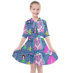 Blue Denim And Drawings Kids  All Frills Chiffon Dress