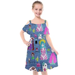 Blue Denim And Drawings Kids  Cut Out Shoulders Chiffon Dress