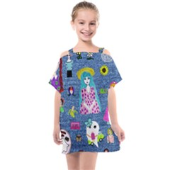Blue Denim And Drawings Kids  One Piece Chiffon Dress