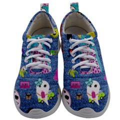 Blue Denim And Drawings Mens Athletic Shoes