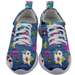 Blue Denim And Drawings Kids Athletic Shoes