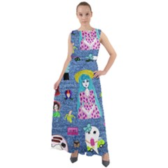 Blue Denim And Drawings Chiffon Mesh Boho Maxi Dress