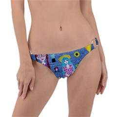Blue Denim And Drawings Ring Detail Bikini Bottom