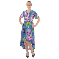Blue Denim And Drawings Front Wrap High Low Dress