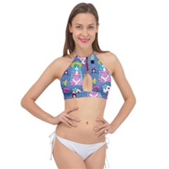 Blue Denim And Drawings Cross Front Halter Bikini Top