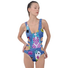Blue Denim And Drawings Side Cut Out Swimsuit