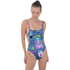 Blue Denim And Drawings Tie Strap One Piece Swimsuit