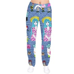 Blue Denim And Drawings Women velvet Drawstring Pants