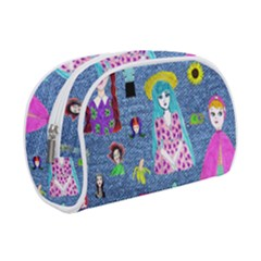 Blue Denim And Drawings Makeup Case (Small)