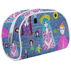 Blue Denim And Drawings Makeup Case (Medium)